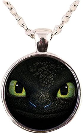 Amazon.com: Glass Dome Pendant Necklace dragon trainer toothless face pendant necklace: Clothing