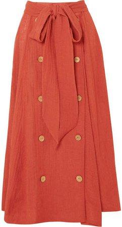 Diana Linen-blend Midi Skirt - Bright orange