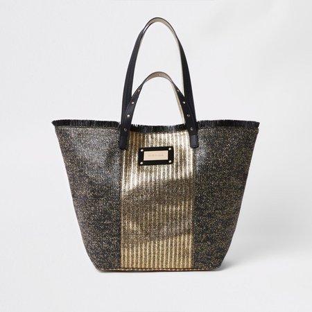 Black metallic woven beach bag - Shopper & Tote Bags - Bags & Purses - women