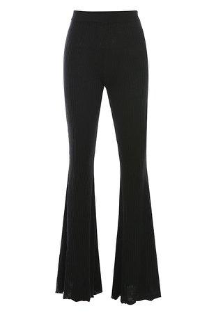 Clothing : Leggings : 'Marlena' Black Ribbed Knit Trousers