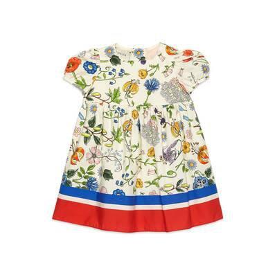 Flora Festival Print Cotton Baby Dress   GUCCI® US