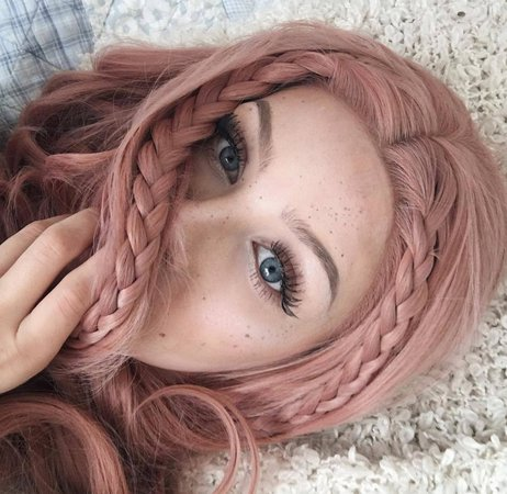 Rose Gold hair and blue eyes