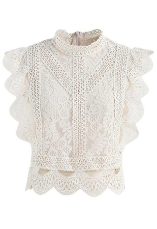 Your Sassy Start Sleeveless Crochet Lace Top in Beige - Retro, Indie and Unique Fashion