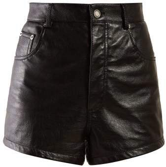 High Rise Leather Shorts - Womens - Black