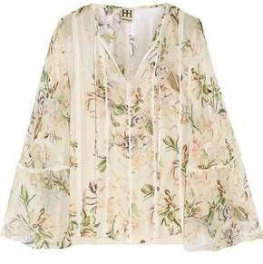 Winds Of Change Lace-trimmed Printed Silk-chiffon Blouse