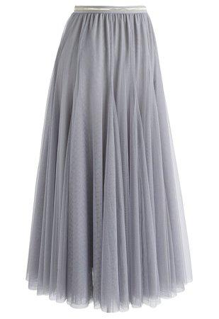 Tulle Maxi Skirt in Grey