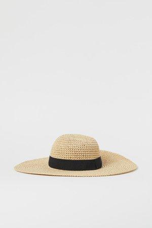 Grosgrain-band Straw Hat - Beige/black - Ladies | H&M US