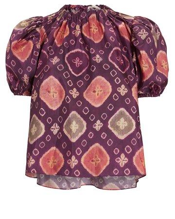 Ulla Johnson Isolada Printed Puff Sleeve Top | INTERMIX®