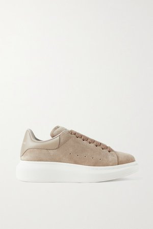 Leather-trimmed Suede Exaggerated-sole Sneakers - Mushroom
