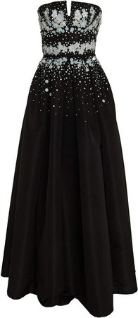 Pleated Sequin-Embellished Satin Gown