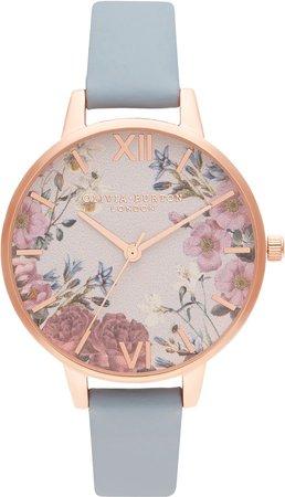 British Blooms Leather Strap Watch, 34mm