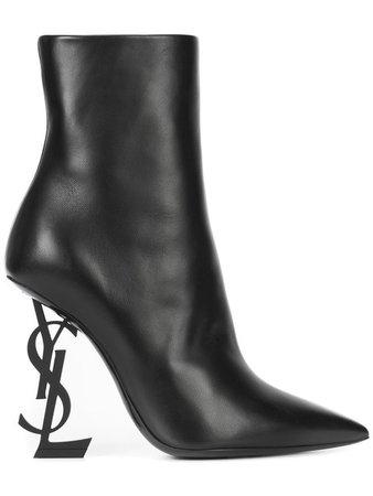 Saint Laurent Opium Monogrammed Heel Boots - Farfetch