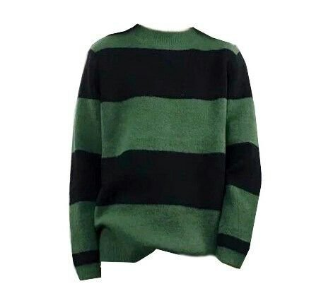 green + black striped sweater png