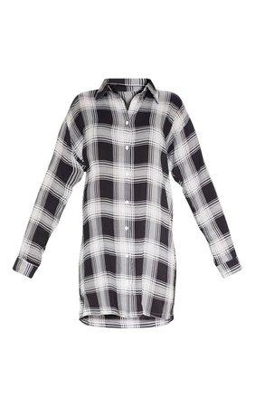 Black Oversized Checked Shirt Dress | Dresses | PrettyLittleThing