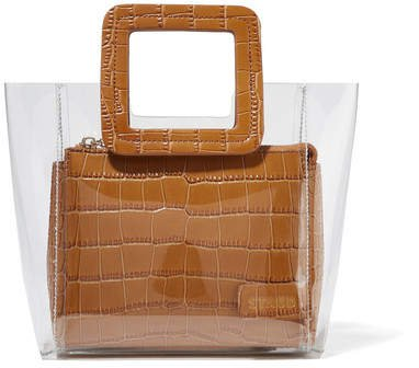 STAUD - Shirley Mini Croc-effect Leather And Pvc Tote - Tan