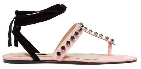 The Vanessa Crystal Embellished Moire Sandals - Womens - Pink