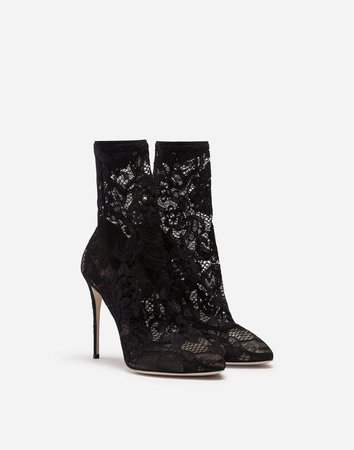 Stretch Lace Ankle Boots - Women's Shoes | Dolce&Gabbana