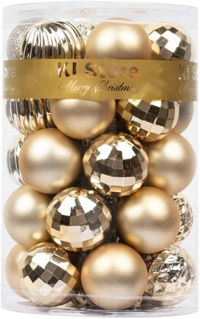 Amazon.com: KI Store 34ct Christmas Ball Ornaments Black Shatterproof Christmas Decorations Tree Balls for Halloween Holiday Wedding Party Decoration, Tree Ornaments Hooks Included 2.36-Inch 60mm: Furniture & Decor