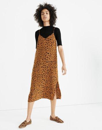 Silk Eva Side-Slit Slip Dress in Leopard