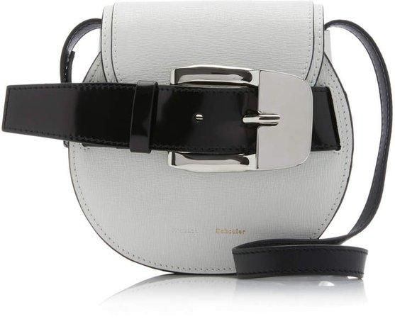 Mini Buckle-Embellished Leather Shoulder Bag