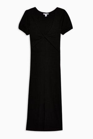Black Twist Ribbed Column Midi Dress | Topshop