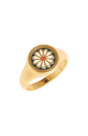 Madewell Daisy Delight Enamel Signet Ring | Nordstrom