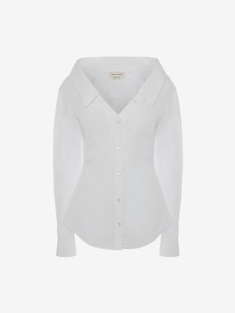 Alexander Mcqueen, Cotton Poplin Fitted Shirt in Optical White