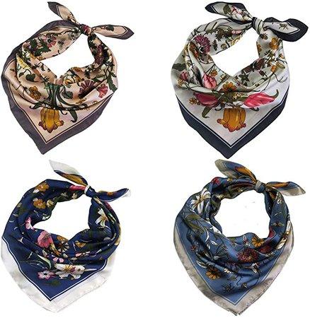 FYLuoke Silk Satin HeadScarf Neck Scarf Hair Scarf Bandana for Women (Four-01) at Amazon Women's Clothing store