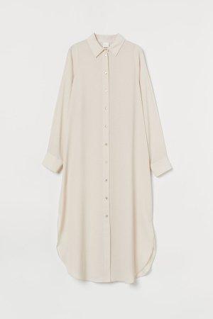 Calf-length Shirt Dress - Beige