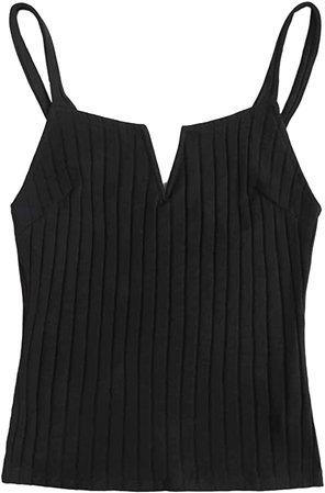 SheIn Women's V Notch Sleeveless Ribbed Knit Basic Cami Top Black