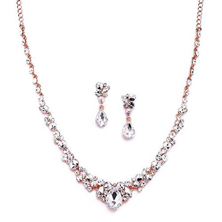 Amazon.com: Mariell Glamorous Blush Rose Gold Crystal Necklace & Earrings Jewelry Set for Wedding, Prom & Bridesmaids: Jewelry