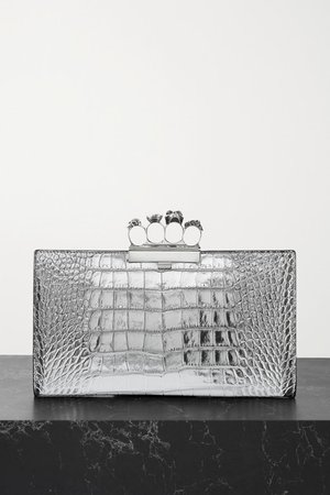 Four Ring Embellished Croc-effect Leather Clutch - Silver