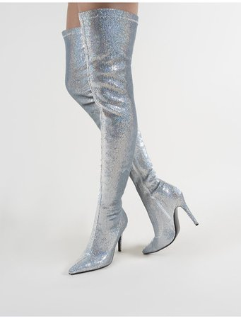 Dazzle Pointed Toe Over The Knee Boots in Silver Sequins | Public Desire | Public Desire US