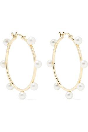 Mateo | Large Dot 14-karat gold pearl hoop earrings | NET-A-PORTER.COM