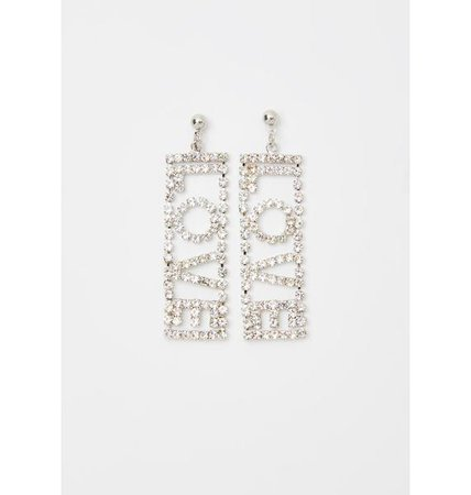 Vday Rhinestone Studded Love Drop Earrings - Silver | Dolls Kill