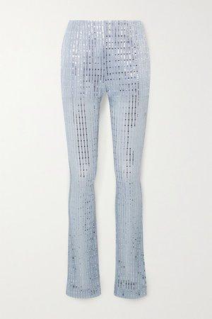 we11done | Pantalon skinny en mailles côtelées métallisées à sequins | NET-A-PORTER.COM