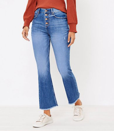 Petite Flare Crop Jeans in Authentic Light Indigo Wash