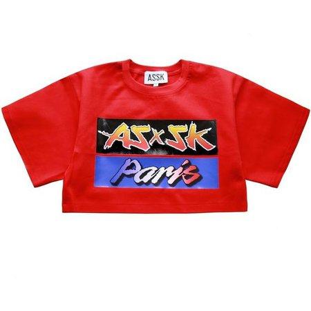 BUMPER STICKER Crop T-shirt Red