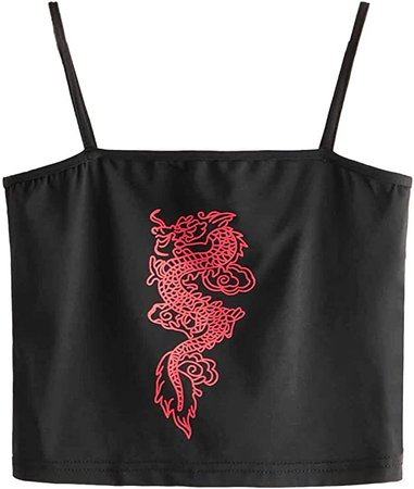SweatyRocks Women's Sexy Spaghetti Strap Crop Top Dragon Print Camisole Tank