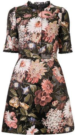 baroque floral-jacquard dress