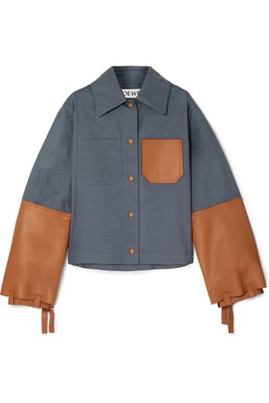 Loewe | Cropped cotton-twill and leather jacket | NET-A-PORTER.COM