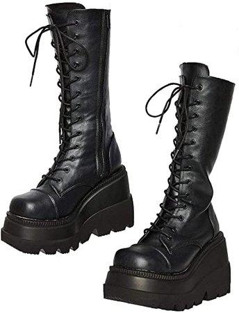 Amazon.com | CELNEPHO Womens High Platform Mid Calf Wedges Chunky High Heel Round-Toe Side Zip Fanshion Combat Boots for Women D-Black | Mid-Calf