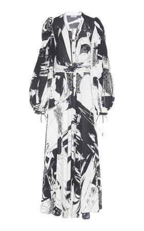 Loewe Printed Silk-Crepe Maxi Dress