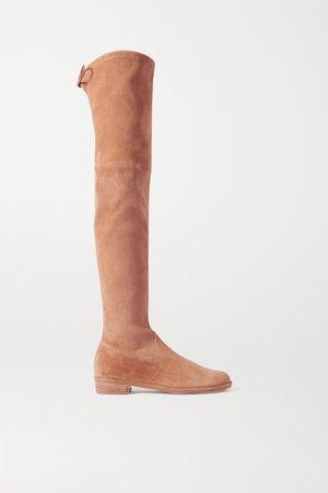 Camel Lowland suede over-the-knee boots   Stuart Weitzman   NET-A-PORTER