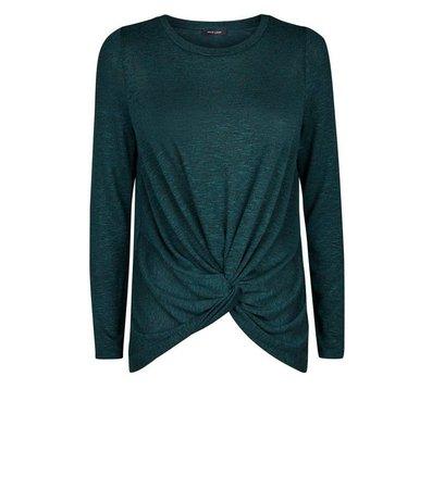 Dark Green Fine Knit Twist Front Top | New Look
