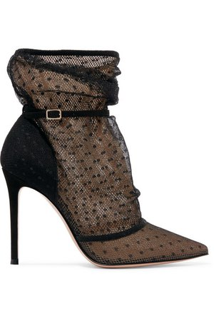 Gianvito Rossi | 105 polka-dot tulle and suede ankle boots | NET-A-PORTER.COM
