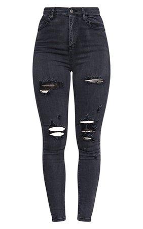 Plt Washed Black Distressed Skinny Jean | PrettyLittleThing USA