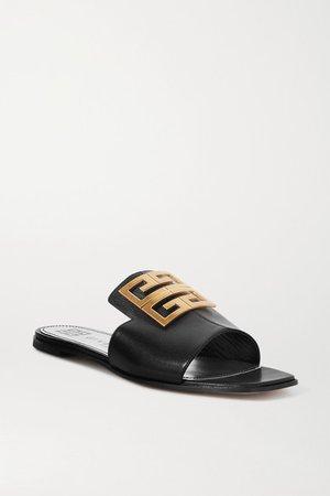 4g Logo-embellished Leather Sandals - Black