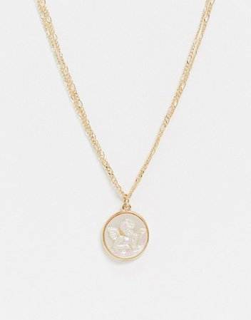 ASOS DESIGN necklace with opal style cherub pendant in gold tone | ASOS