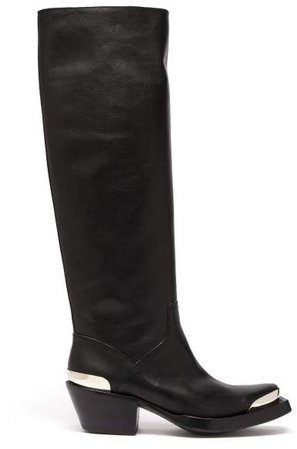 Knee High Leather Cowboy Boots - Womens - Black